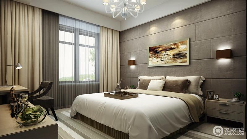 卧室以咖色几何背景墙和米色窗帘奠定了中性凝练,让空间的深沉和温馨