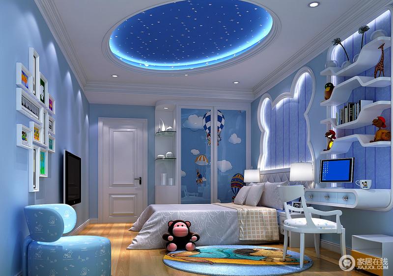 装修图库 欧式 蓝色如天空般纯净无暇,又如大海般波澜壮阔,男孩子房以
