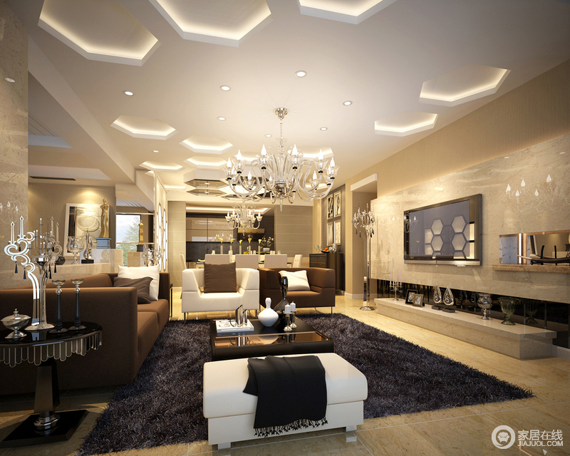 客厅利用八角形吊顶,营造出蜂巢般视觉,在水晶灯华美点缀下,空间体现图片