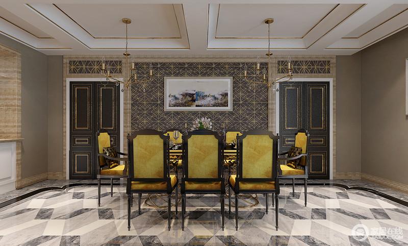 更添空间的贵气;复古姜黄餐椅色调鲜亮,在黑白灰三维地面拼花的跃动图片