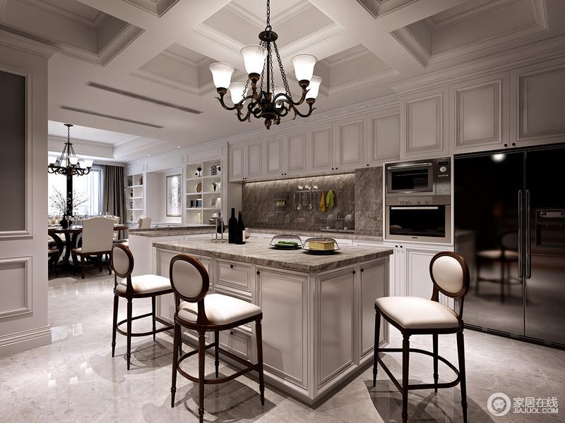 装修图库 美式 西厨利用吧台和岛台无形中作为区域上的划分,井字型