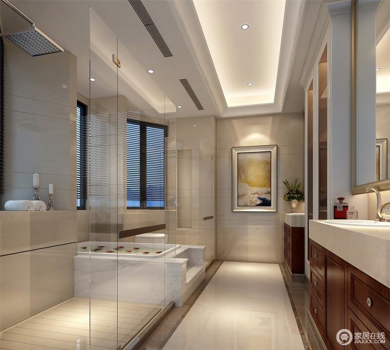 装修图库 卫生间 欧式 乳白色的砖石铺贴出整齐化一的效果,盥洗台不仅