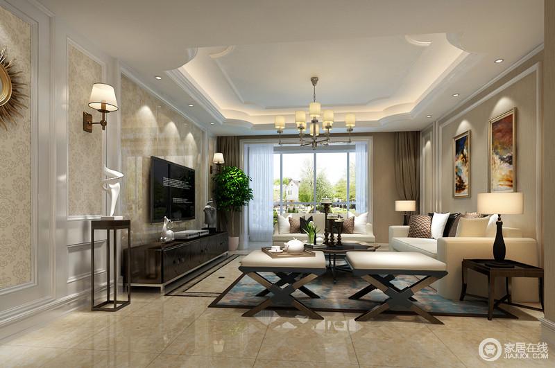 装修图库 客厅 欧式 客厅以米黄色为主,天花顶造型婉约柔和,墙面做了
