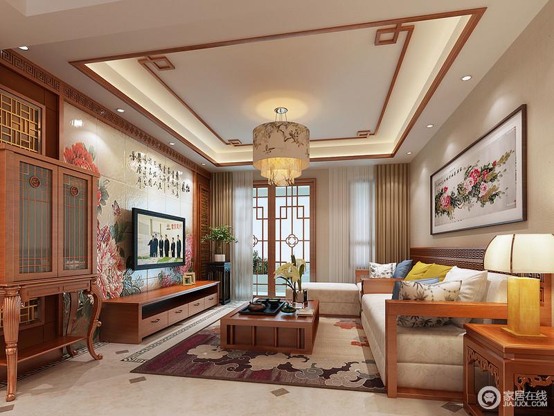 裝修圖庫 客廳 中式情調的客廳里,胡桃木散發出溫潤的質感,背景墻花卉