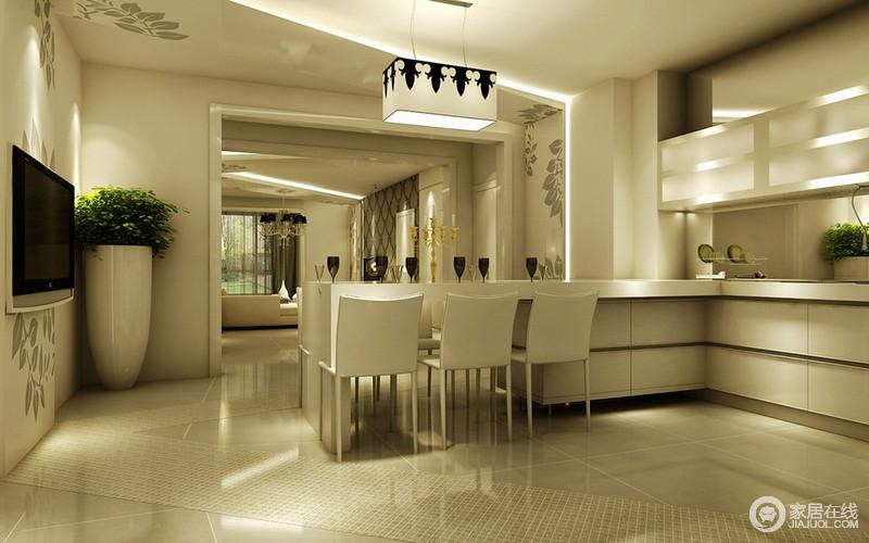 装修图库 客厅 现代 餐厨一体式的空间里,餐厅以开放式厨房延伸出来的