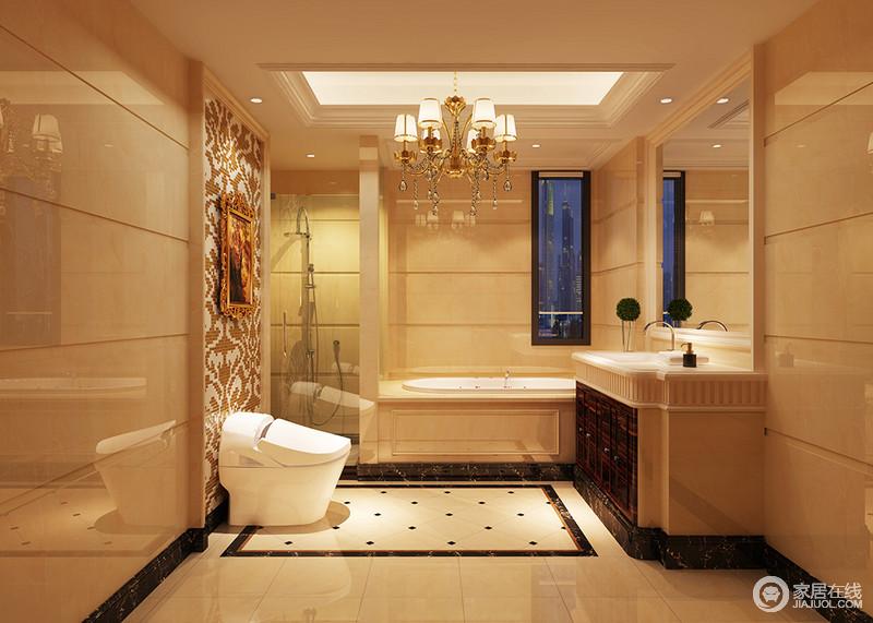 装修图库 卫生间 欧式 大理石铺贴在整个卫浴间,丝毫不显得不宜,反而