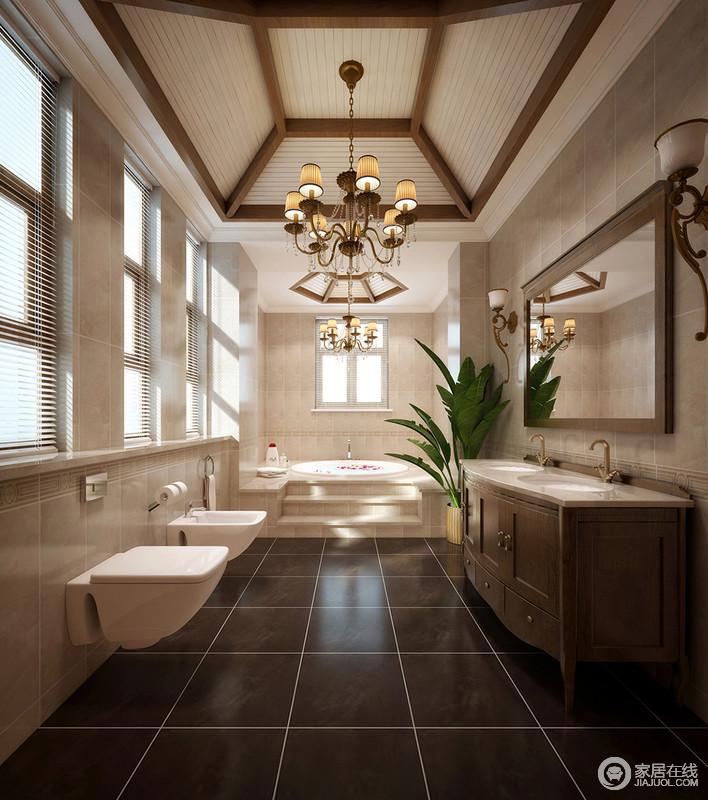 卫生间以吊灯和褐木造型让廊柱几何的吊田园了美式新风朴质,欧式白色易龙顶多故障E42空调图片
