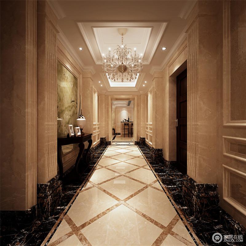 装修图库 走廊 欧式 大理石廊柱礼宾似的凸显出恢弘,尊贵的气势,中央