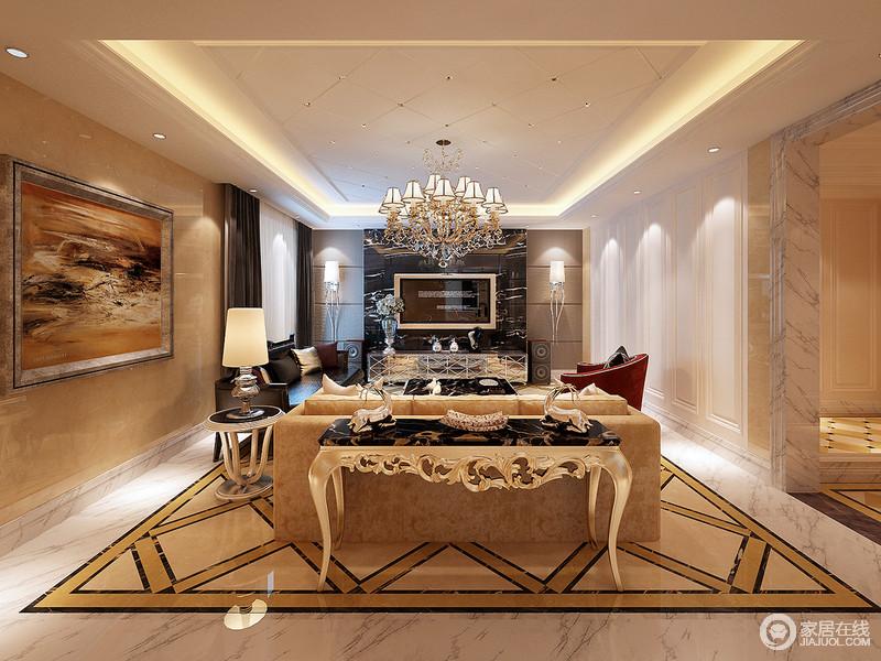 客厅的吊顶与地面采用菱形设计来增加空间的节奏感,但是一个繁,一个简