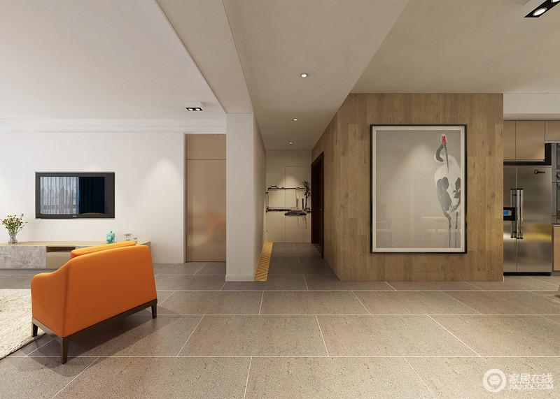 装修图库 走廊 现代 浅咖色的方砖地板简洁大方,透着几何线条的美感.
