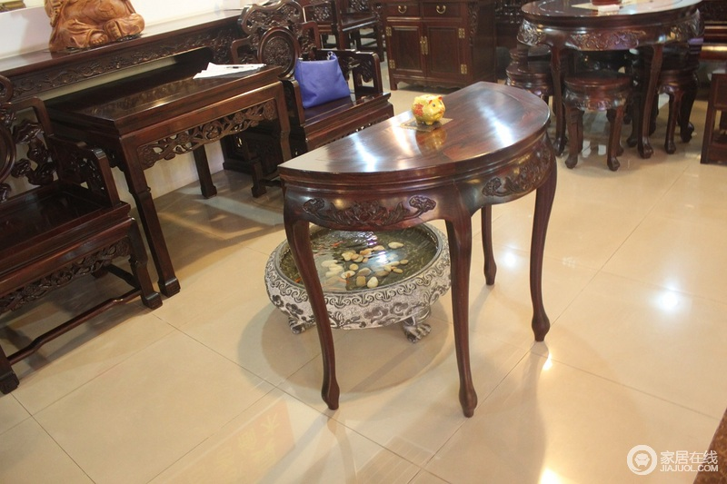 龙顺海古典家具半圆桌图片v圆桌古典家具图片