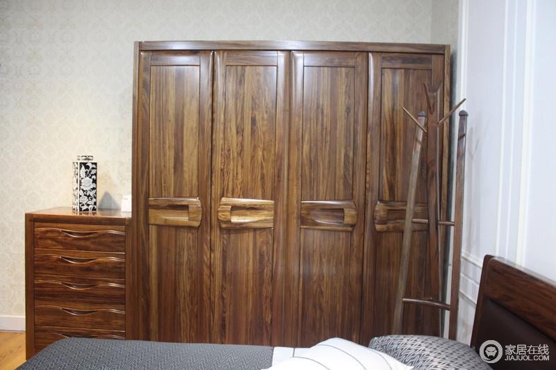 大红鹰家具WJ-6114四门衣柜图片大成实木家具图片