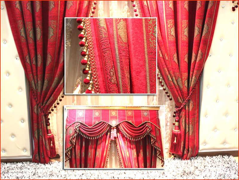 昌达布艺 红色欧式窗帘图片