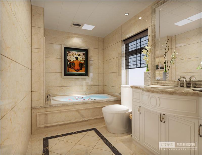 典型的欧式洗浴空间,欧式风格总是给人以富丽堂皇、雍容华贵的感觉,虽然这个卫生间本身并不大,但是华丽的灯具、镜子、小饰品、再加上欧式的大理石墙面效果,整个卫生间自然而然就流露出一种西洋的调子。