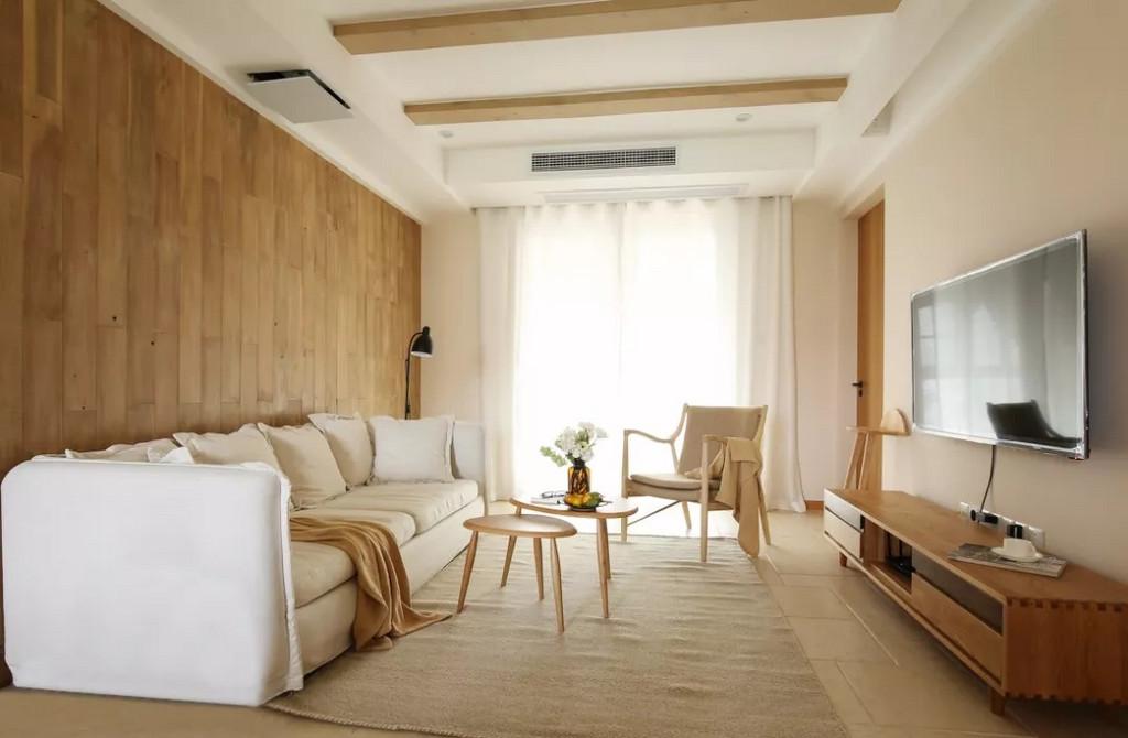 整体空间以白色和木色作为主色调,简单干净又温暖。