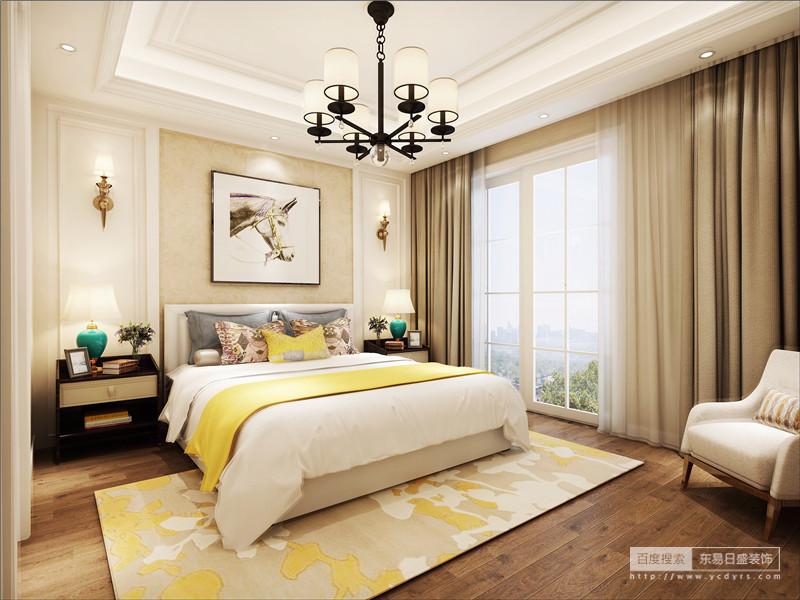 简欧风格的卧室色系上采用明快清新的颜色,象牙白为主色调、深色的地板,给人一种内敛美。卧室里同样采用局部的墙纸装饰,搭配适当的照片,配上精美的吊灯,突出大气优雅的特点,卧室整体突出去繁就简,增加了家居环境的空间感以及层次感,更好的适应现代生活的闲适与舒适
