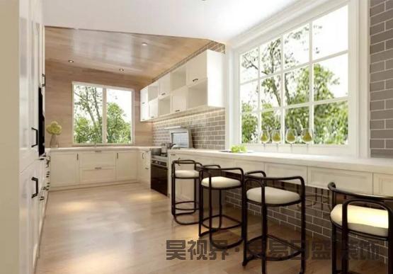 超大的开放式厨房带有长吧台使得日常做饭更加方便