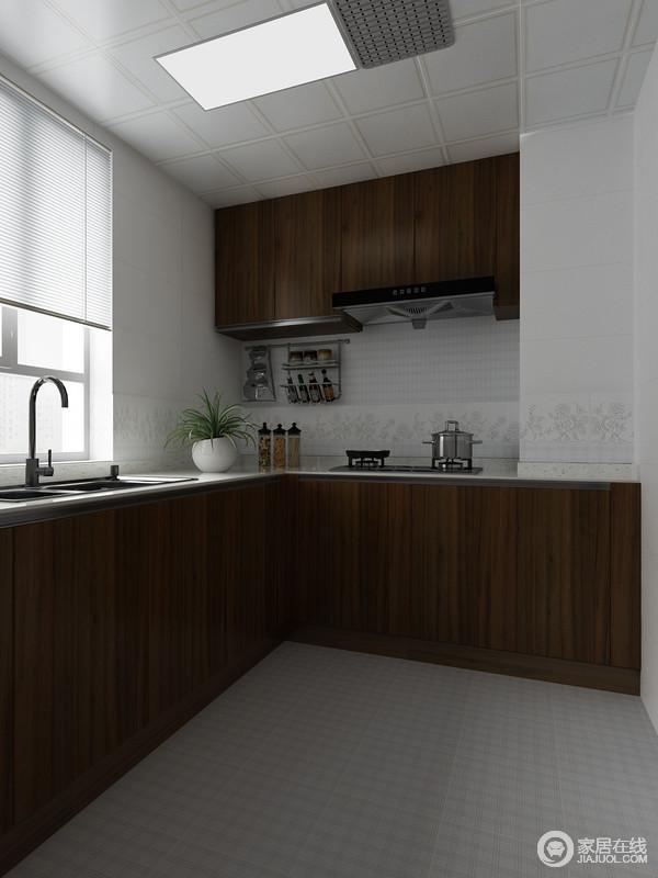 卫生间并没有太浓重的中式味道,单用褐色的橱柜来延续主风格,搭配白色台面,也显得十分干净;白色吊顶搭配灰色地砖,让空间朴素之中,更为干练。