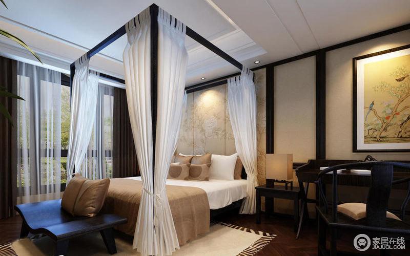 延续整个空间的色调,而白色的纱幔让卧室多了一丝梦幻感