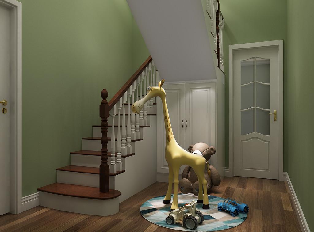 桂林彰泰•清华园复式楼200㎡美式风格:楼梯装修设计效果图