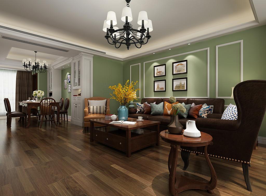 桂林彰泰•清华园复式楼200㎡美式风格:客厅背景墙装修设计效果图