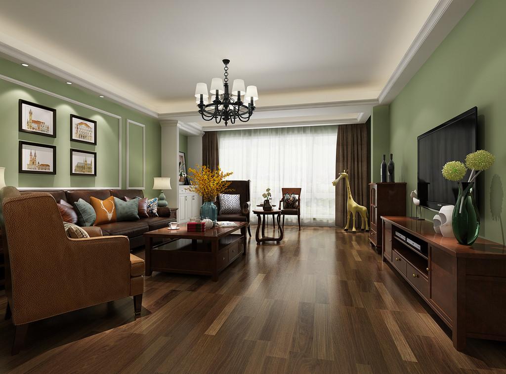桂林彰泰•清华园复式楼200㎡美式风格:客厅装修设计效果图