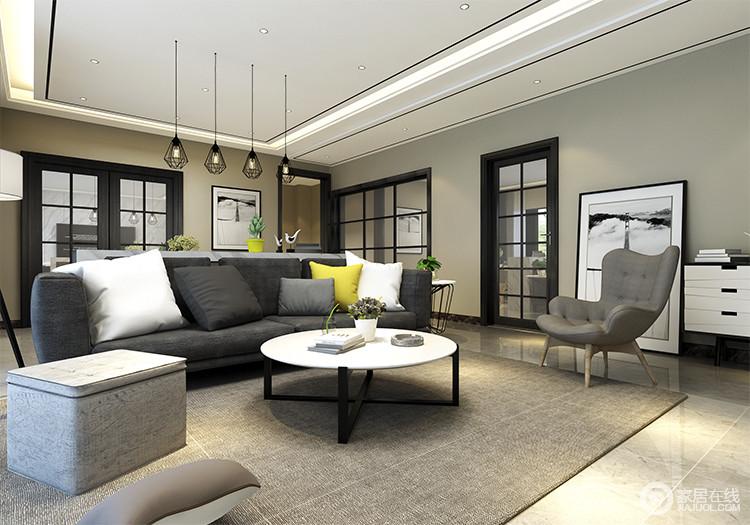 客厅空间布置的很简洁,沙发组沉静稳重中,多了几分随性;布艺沙发上,黄白色靠包,则为空间平添了几分活泼。