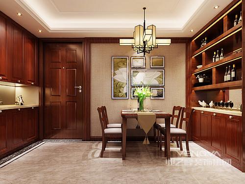 餐厅与玄关结合,设计师将酒柜和组合玄关柜分饰两侧墙面,不但打造出空间上的和谐对称,而且增加了空间多功能置物;温厚的红木色调间,驼色和米色运用在照片墙和地面上,减弱空间上的朴拙沉郁感,注入几分温馨舒缓情调。