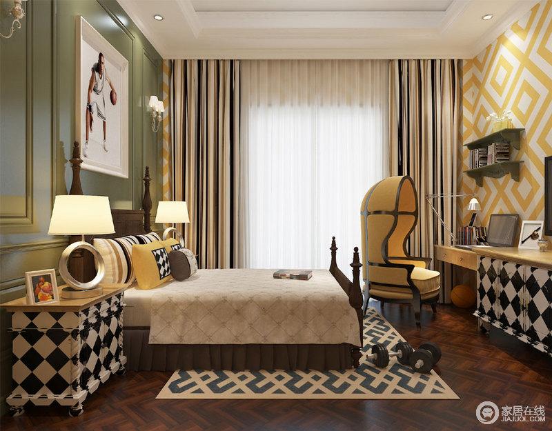 儿童房大胆采用黑白黄绿色彩,以时髦的拼色几何图案,从墙面、柜体到地毯,碰撞出活力时尚格调;色彩的丰富加上摩登的家具,展现出丰富的空间层次和蓬勃鲜活的年轻感;汇聚出的空间气质,淋漓将休憩、玩乐与学习轻松愉悦的交织诠释。