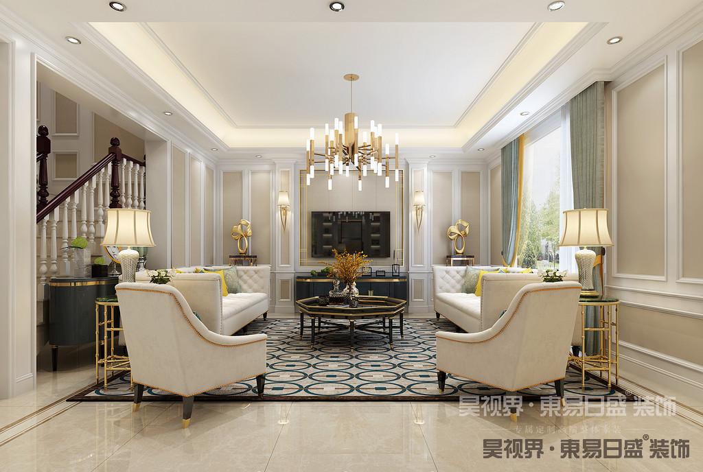 电视背景墙采用木质护墙板加咖啡色硬包和金色的金属条融合出简约时尚的气息。