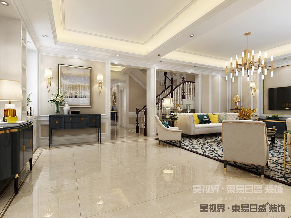 打开的楼梯间和客厅通透起来,木质栏杆给整个空间增添了灵动的韵律感。