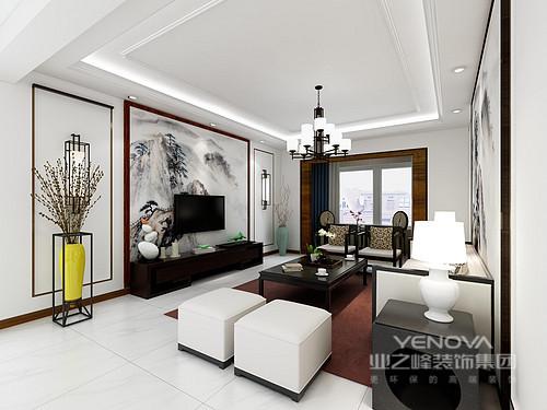 整个客厅以白色为底色,几何灰墨山峦的背景墙,与之渲染空间的沉静;新中式家具的搭配组合,给予空间稳重的气息,简练却萦绕着东方雅致。
