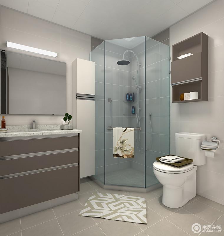 卫生间以驼色系为主,通过墙砖和地砖的色彩反差来塑造空间的层次,褐色橱柜和小吊柜起到中和的作用,让空间稳重之中,尽显实用性。