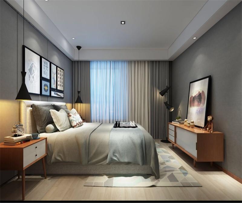 卧室整体采用中性色调,稳重大气却又不失品味,有令人眼前一亮的感觉;最重要的是强调功能性设计,线条简约流畅,色彩对比强烈,这是现代风格家具的特点。