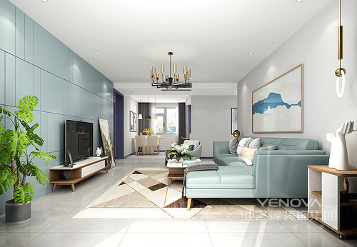 在室内空间中,光线显得尤为重要,因此,设计师在客厅这个空间的顶面设计中添加了光线柔和、令人倍感愉悦舒适的氛围灯。而拥有含蓄梦幻感的岩青色背景和简约线条所组合而成的电视背景墙,既有利于缓解视觉疲劳,还为整个空间增添了一份宁静优雅之感。