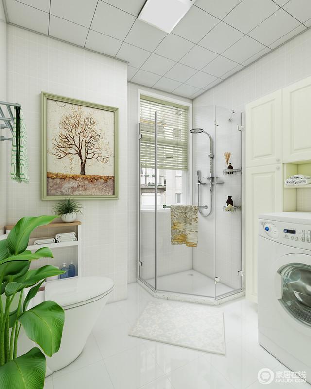 卫生间巧妙地解决了角落空间,通过淋浴室把空间利用了起来,干湿分区的设计,让生活更为舒适;毛巾收纳架或者挂画,无疑都为空间带来了不一样的景致。