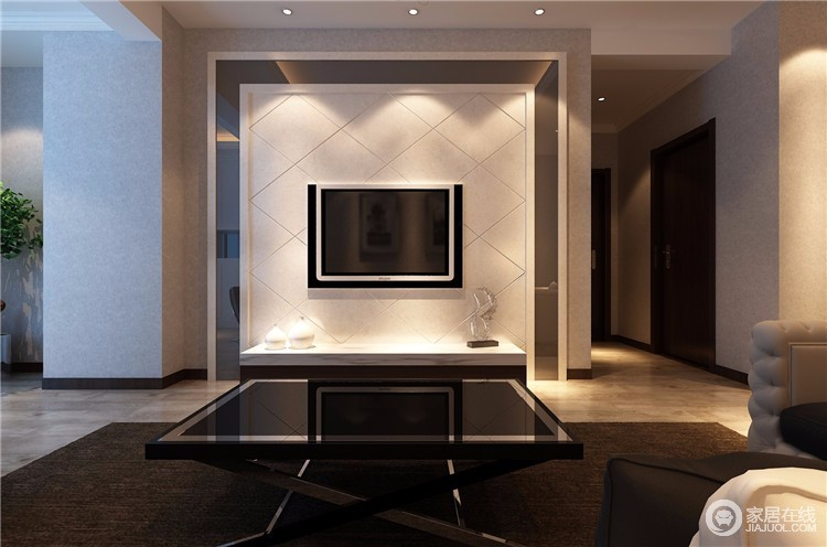 客厅在其细节的处理上就显得极为讲究了,不仅强调简洁、明晰的装饰线条,凸出了背景墙的菱形之美,与黑色茶几结合,构成一种黑白之美。