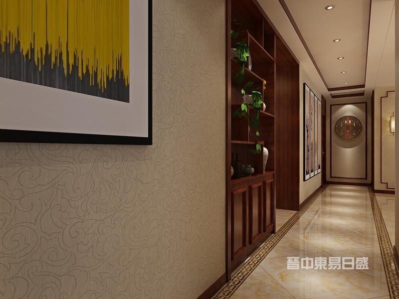 玄关过道:入户左手边有一个暖气分水器,用一个博古架的形式,将其包封也可作为餐厅的餐边柜及酒柜使用。