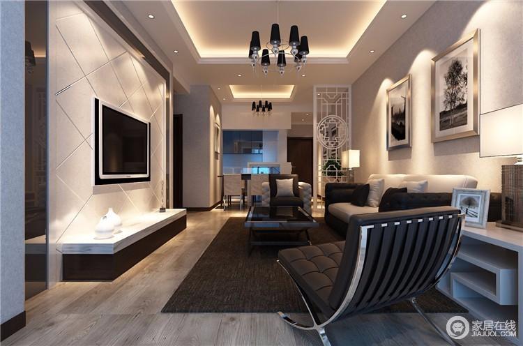 客厅空间的比例可以表达情感,从空间内在特性可以看出整个空间的风格;整个空间的色调以及结构的比例,都可以营造出时尚和温馨的格调,层次分明的石膏线和中性色的氛围带动了整个空间的节奏,重新演绎了安适。