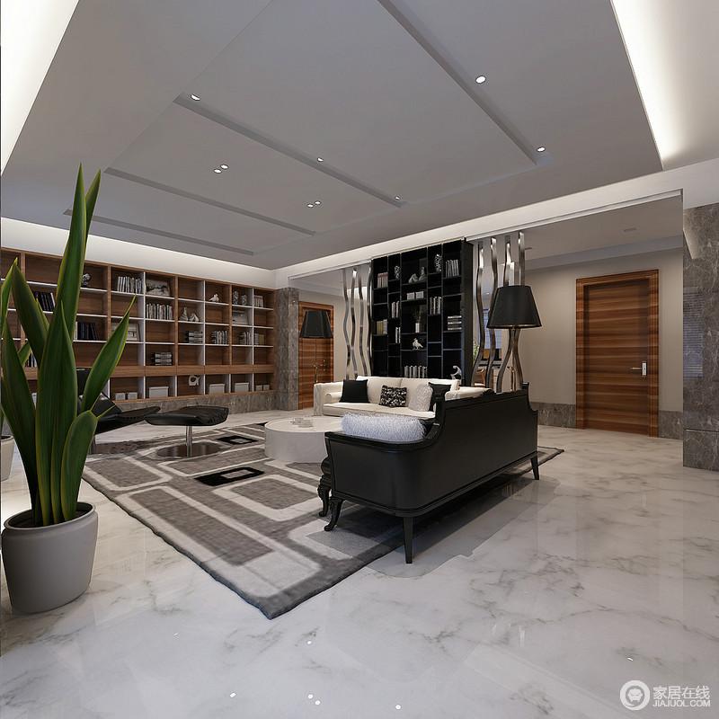 客厅因为实木几何书柜多了收纳之美,而黑色书柜因为曲线感的金属条多了摩登感;金属落地灯对称出庄重大气,裹挟着黑白组合的皮质沙发、圆几和座椅,在灰色几何地毯的映衬中多了份简素和现代摩登。