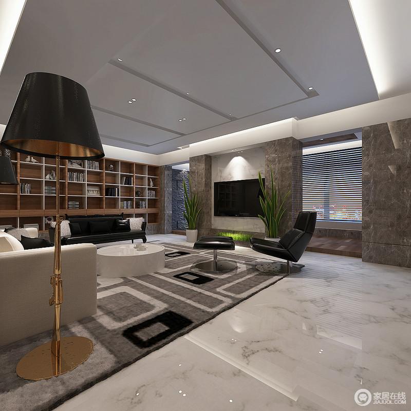 客厅的吊顶以几何石膏板打造立体感,与射灯打造简中有光,大理石柱虽为承重墙,设计师巧妙将其打造为原始感十足的背景墙,多了硬朗,也多了自然情调;几何实木书柜的墙面视觉感十足,同时也极具收纳艺术,让黑白色调的空间多了恬淡。