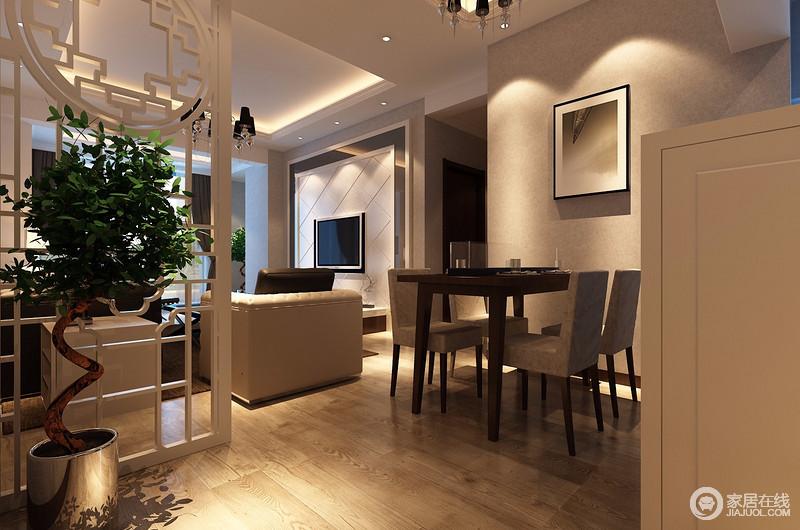 餐厅是我们用餐的地方,也是人类储存能量和放松心情的场所,看似开放式的空间通过白色实木隔断作简单区分,让空间多了几分现代利落。