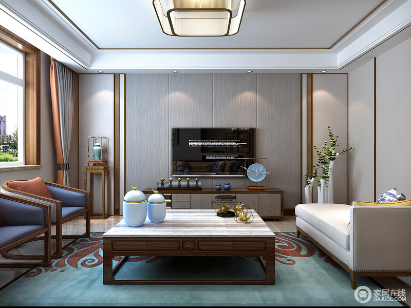 传统中式在装饰选材上主要以突出东方图案为主的架构形式与装饰,而新中式风格则可用壁纸、背景墙等现代装饰,再以木线条和实木家具点缀,是传统风韵与现代舒适感的完美结合。