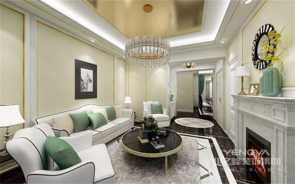 悬挂壁画与欧式家具的装饰元素巧妙地统一起来,整个客厅充满着欧式家庭的生活风情。