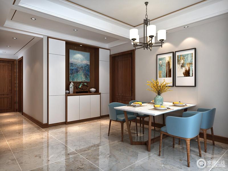 从整体布局的角度出发,新中式风格设计简洁,讲究布局对称和空间层次感,以阴阳平衡概念调和室内生态。