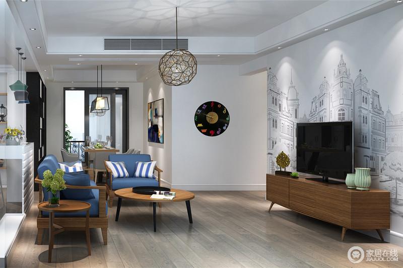 现代感的客厅里,既有着都市感的时尚又兼具温润亲和的自然情调。电视墙壁画与电视柜及蓝色坐垫的木质沙发椅,形成风格上的碰撞,营造出休闲意味浓厚的明快空间。