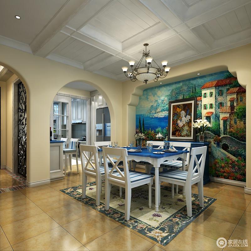 将海洋元素应用到家居设计中,给人自然浪漫的感觉。在造型上,广泛运用拱门与半拱门,给人延伸般的透视感。