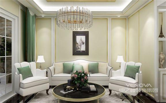 客厅浅绿色和白色的搭配,清爽简洁,简约不失奢华,仿佛被带到了一个纯净、而有高雅的境地,颜值超高!