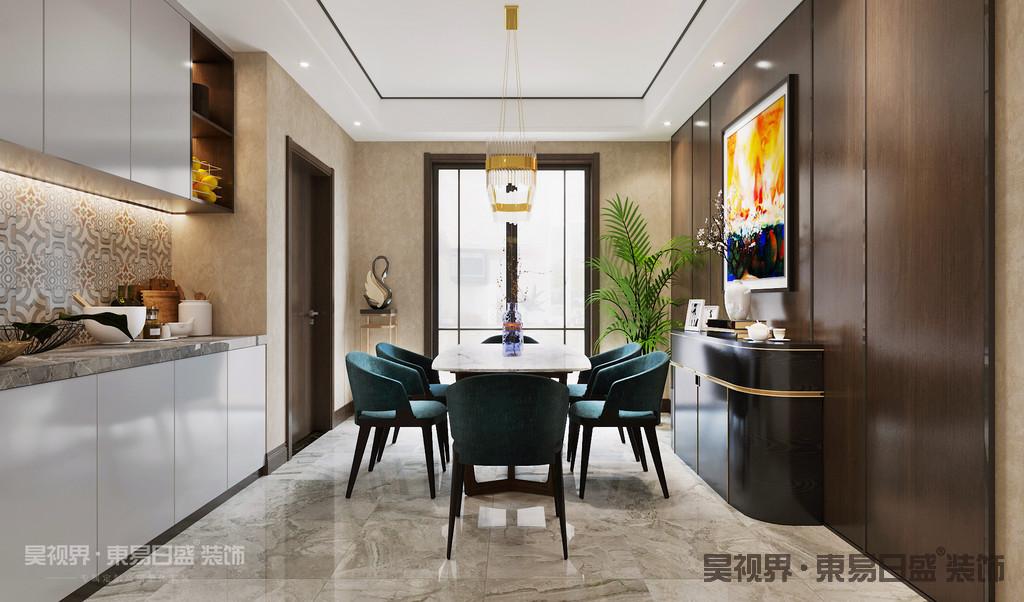比起客厅,餐厅或许更能代表「一个家的温度」。它不仅是你的能量补充站,更是家人之间的生活情感沟通所。本案独特的吊灯设计,富有艺术气息的墙面挂画,营造了温馨的用餐空间。