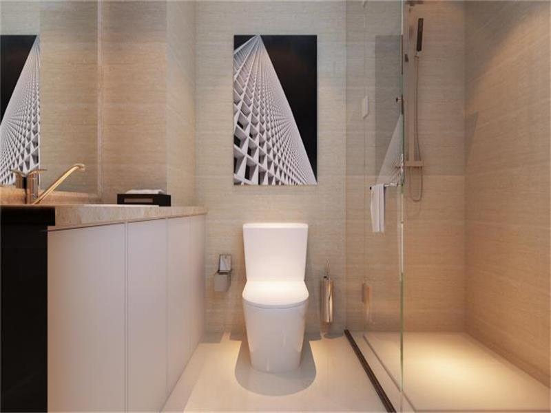 衛生間整體顏色以米色為主,白色過渡整個風格整體卻不單一,層次感強烈
